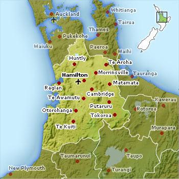 Hamilton-Waikato Map Regional City