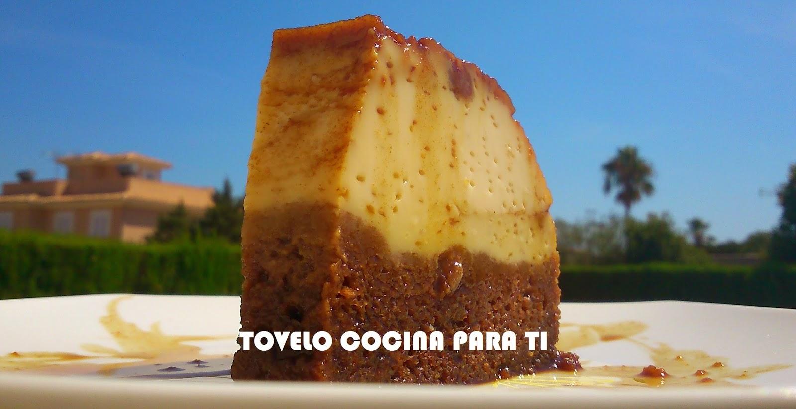 Tarta Mix De Flan Y Bizcocho Húmedo De Chocolate Al Caramelo