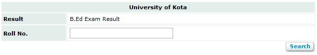 University of Kota B.Ed. 2013 Exam Result