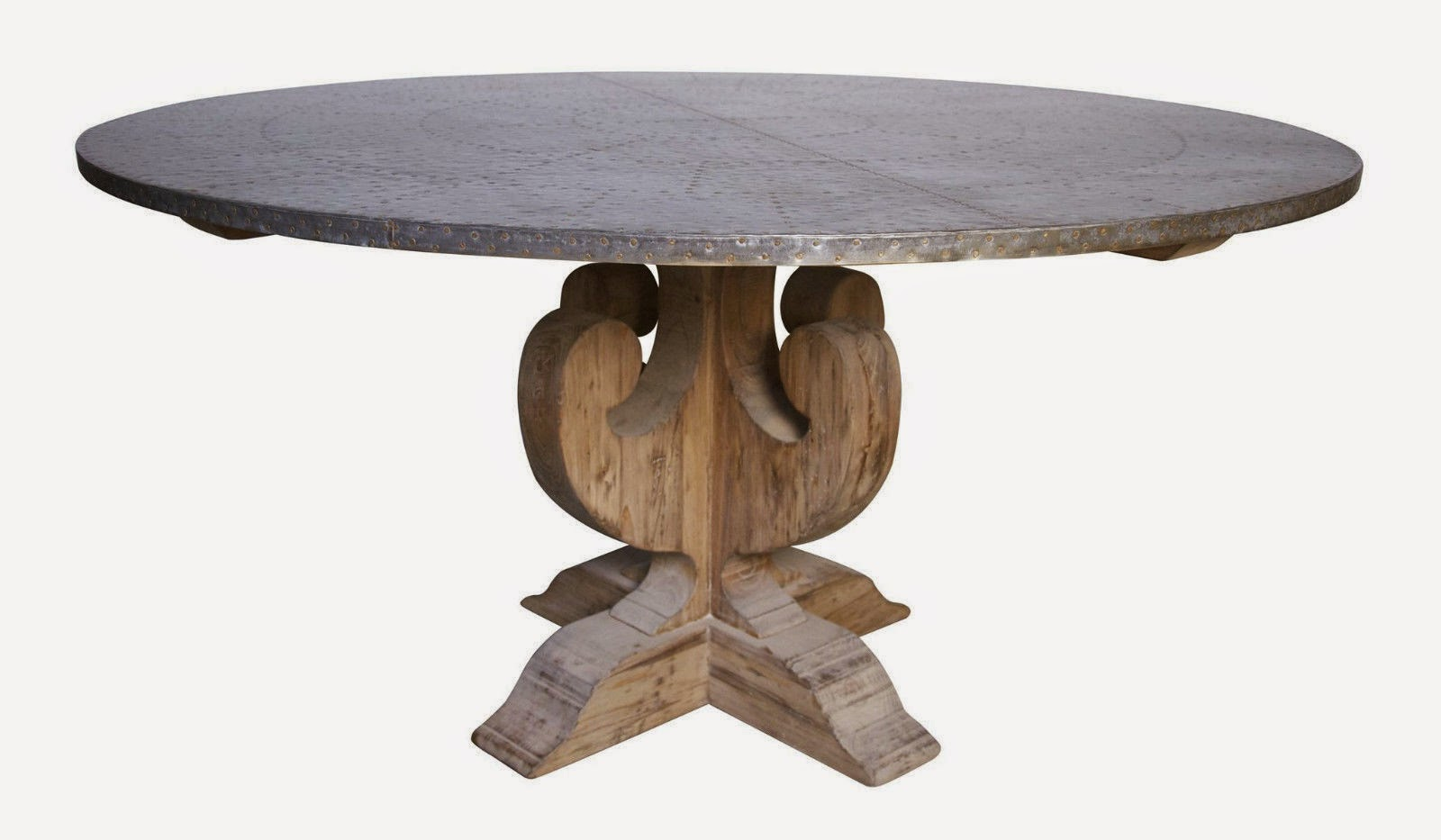 60 Round Dining Table Pine Wood Zinc