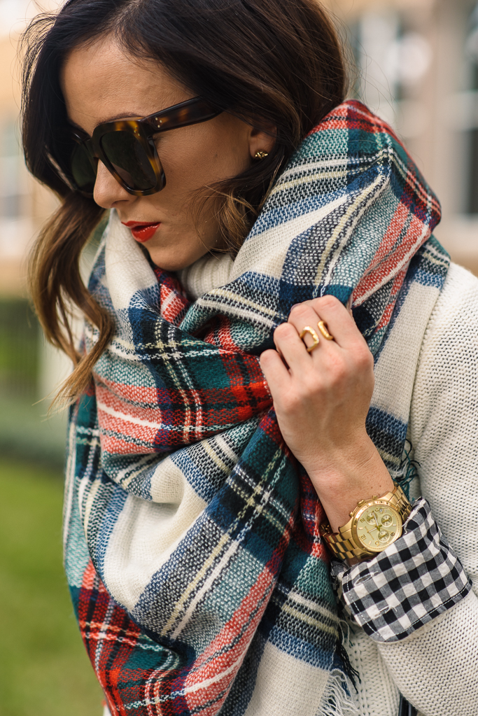 plaid blanket scarf, asos plaid scarf, plaid scarf, blanket scarf, tory burch tote, fall fashion, winter fashion, holiday style, black tory burch tote, tory burch slouchy tote, tory burch marion slouchy tote, j.crew knit turtleneck, cable knit turtleneck, j.crew cable knit turtleneck, dark denim skinny jeans, joe's jeans skinny jeans, black tory burch flats, red lipstick, christmas outfit, how to wear a blanket scarf,