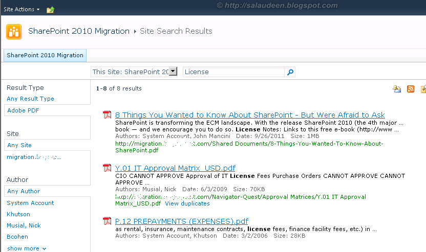 pdf search on sharepoint 2010