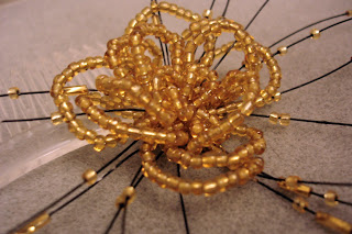 Gold Hair Flower with Fronds