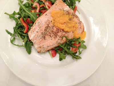 Crispy Salmon Arugula Salad Carrot-Ginger Vinaigrette Recipe