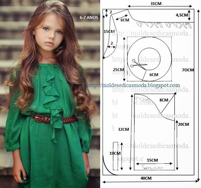 Выкройка блузки для девочки на возраст от 2 до 9 лет А. Девочке