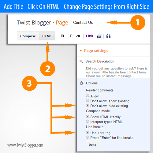 Add Blogger Contact Form to Any Static Page