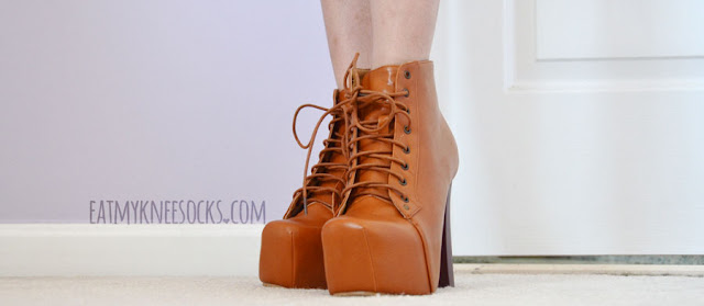 Jeffrey Campbell's Lita platform booties are super popular, and Milanoo sells these tan/camel-colored faux-leather dupes for a much cheaper price.