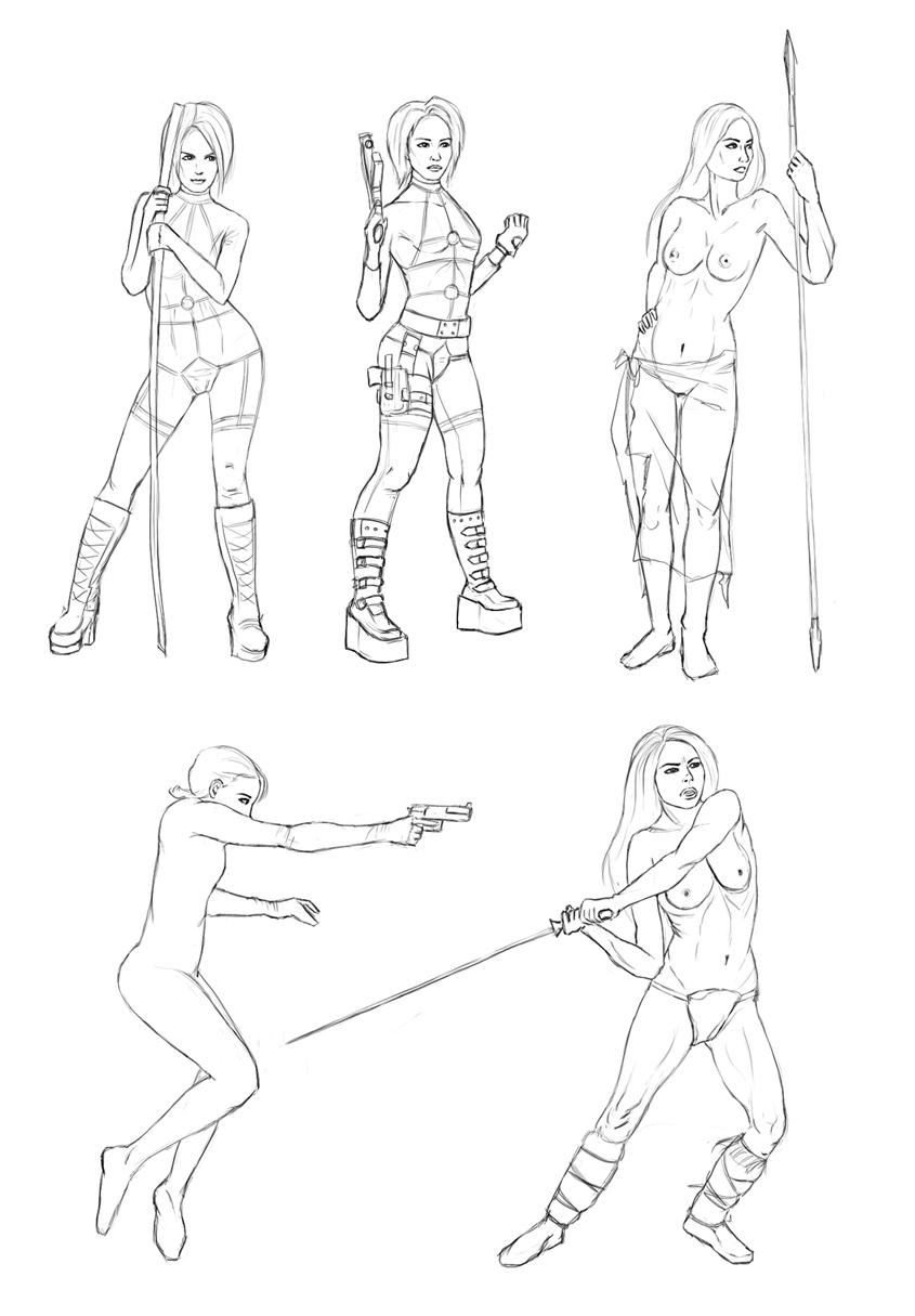 Боевые позы девушек