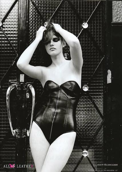 balck & white, Natalie Keyser, leather body, Yves Saint Laurent, photoshoot, Serge LeBlon, editorial, Ten Magazine, all in leather, 2009
