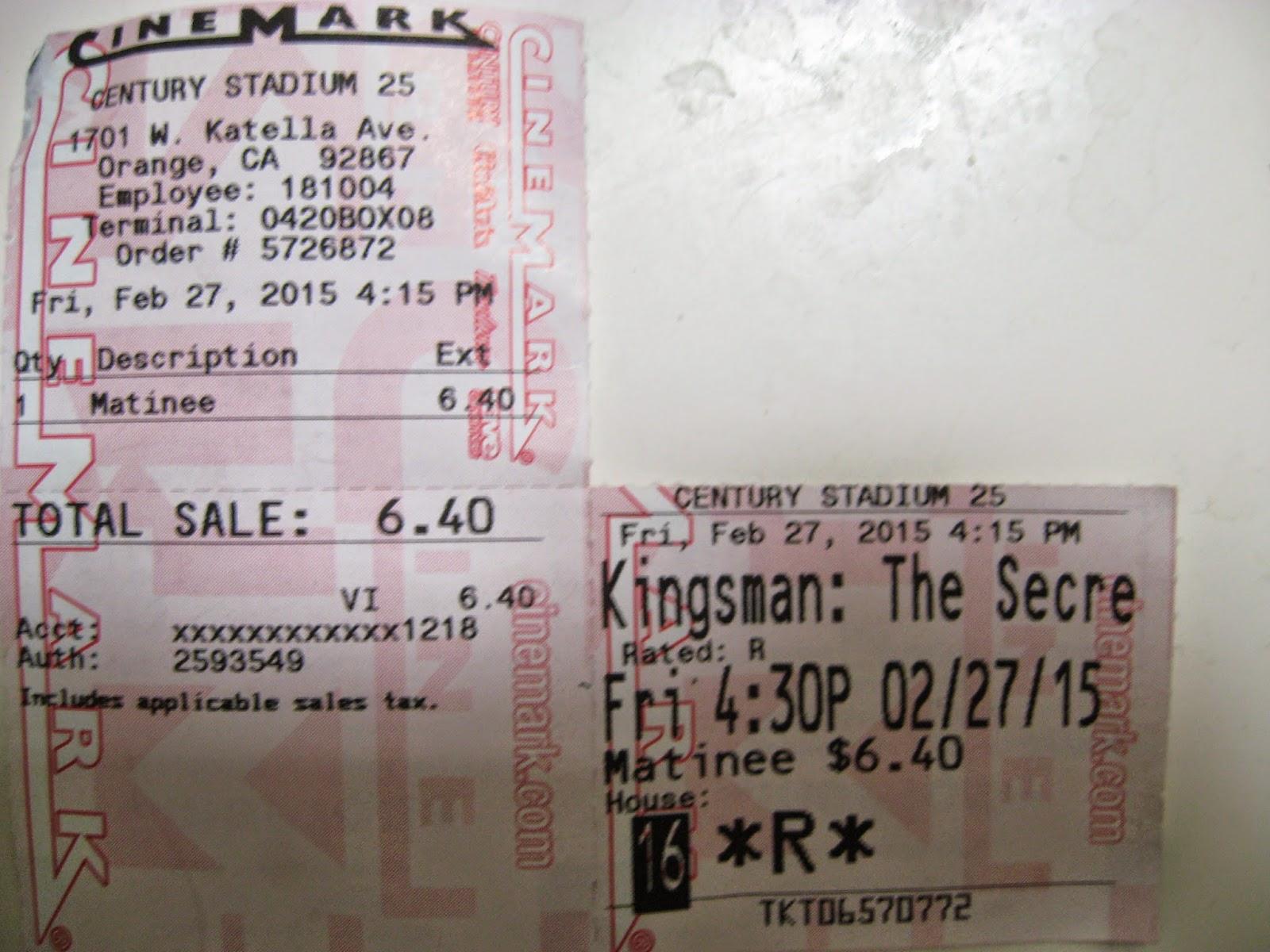Cinemark Ticket Stub