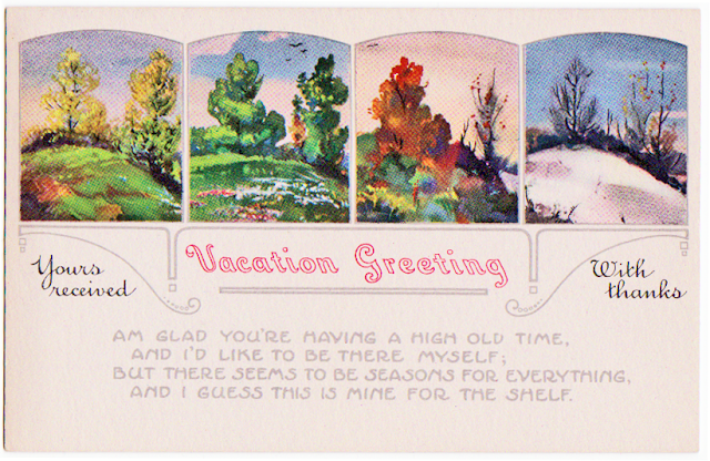vintage vacation response postcard - the cedar chest blog