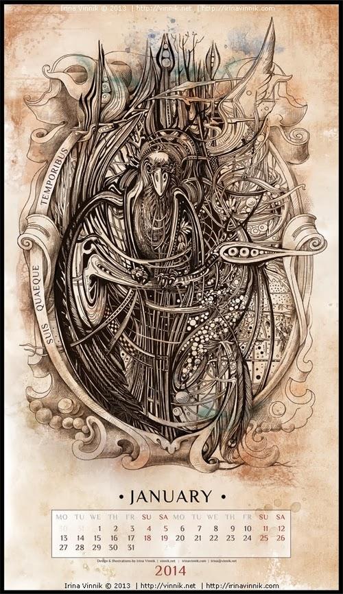 01-January-Irina-Vinnik-2014-Bestiary-Calendar-Design-www-designstack-co