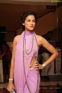 Shilpa Reddy Spicy babe in Stunning Purple Pink Designer Saree with Sleeveless Blouse