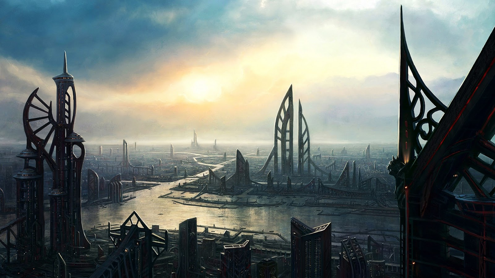 futuristic buildings of a mystical planet