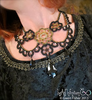 Steampunk Beaded Lace Necklace