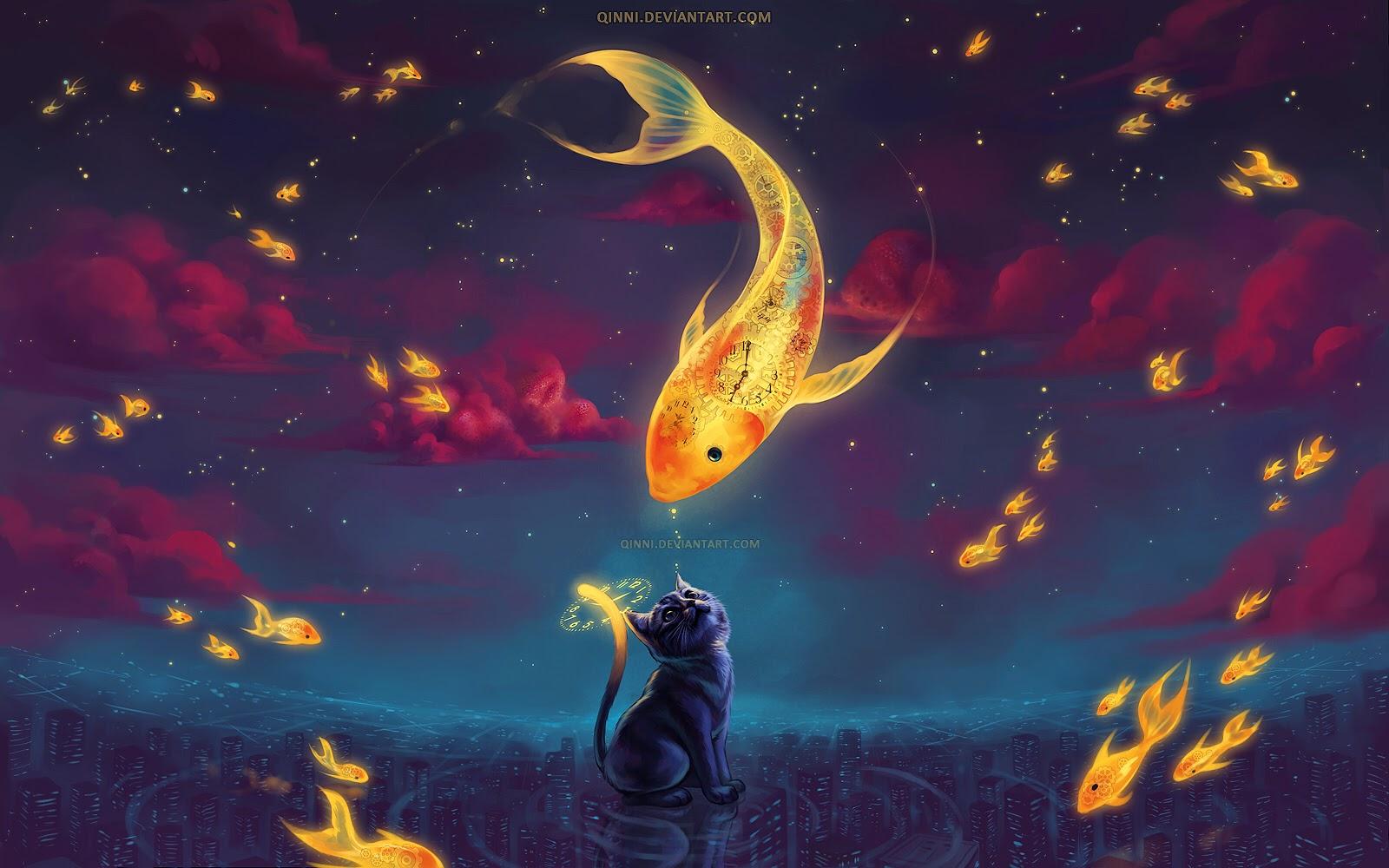 illustration de Qing Han d'un chat ragrdant un poisson doré nageant dans le ciel