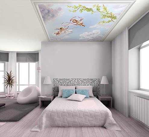 déco de chambre plafond décoré ciel