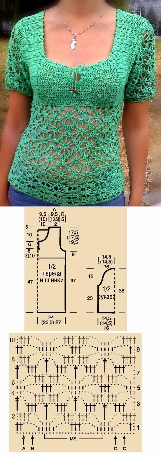Blusa mangas cortas de dama tejida al crochet