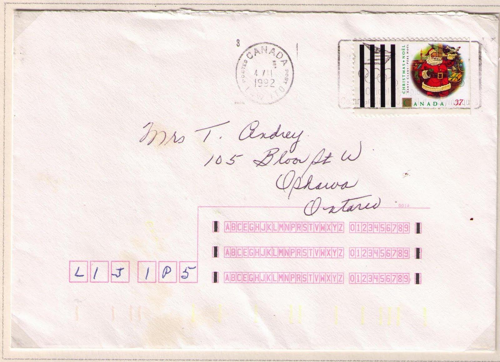 Postal history corner toronto south central processing plant l4w 1t0 to ottawa december 4 1992 spiritdancerdesigns Choice Image