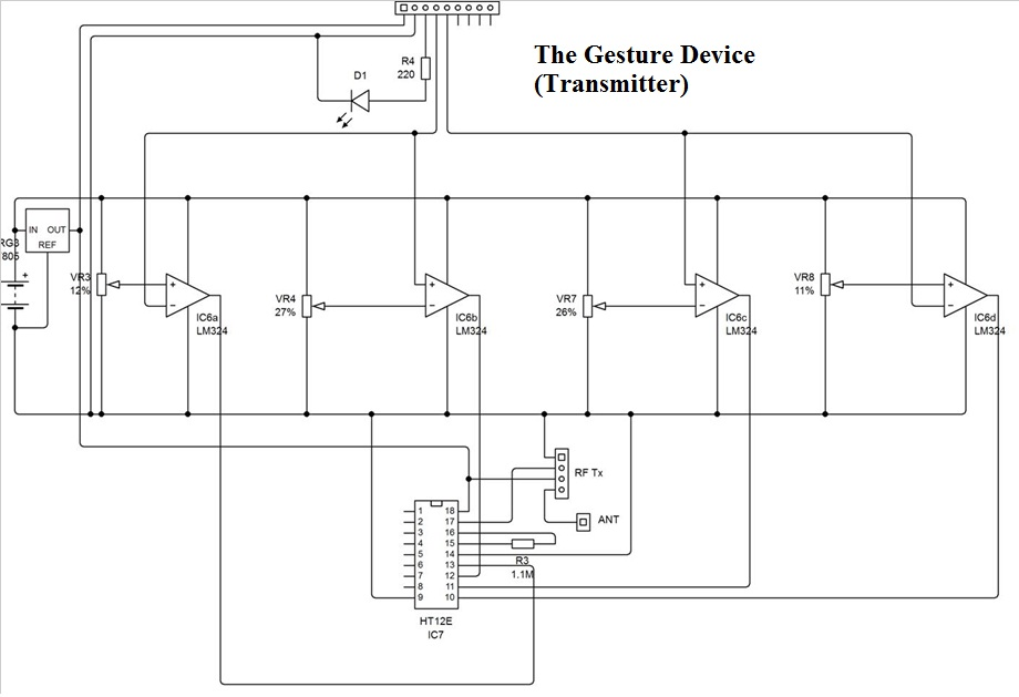 Wireless gesture controlled robot using at89s52 the transmitter schematic ccuart Choice Image