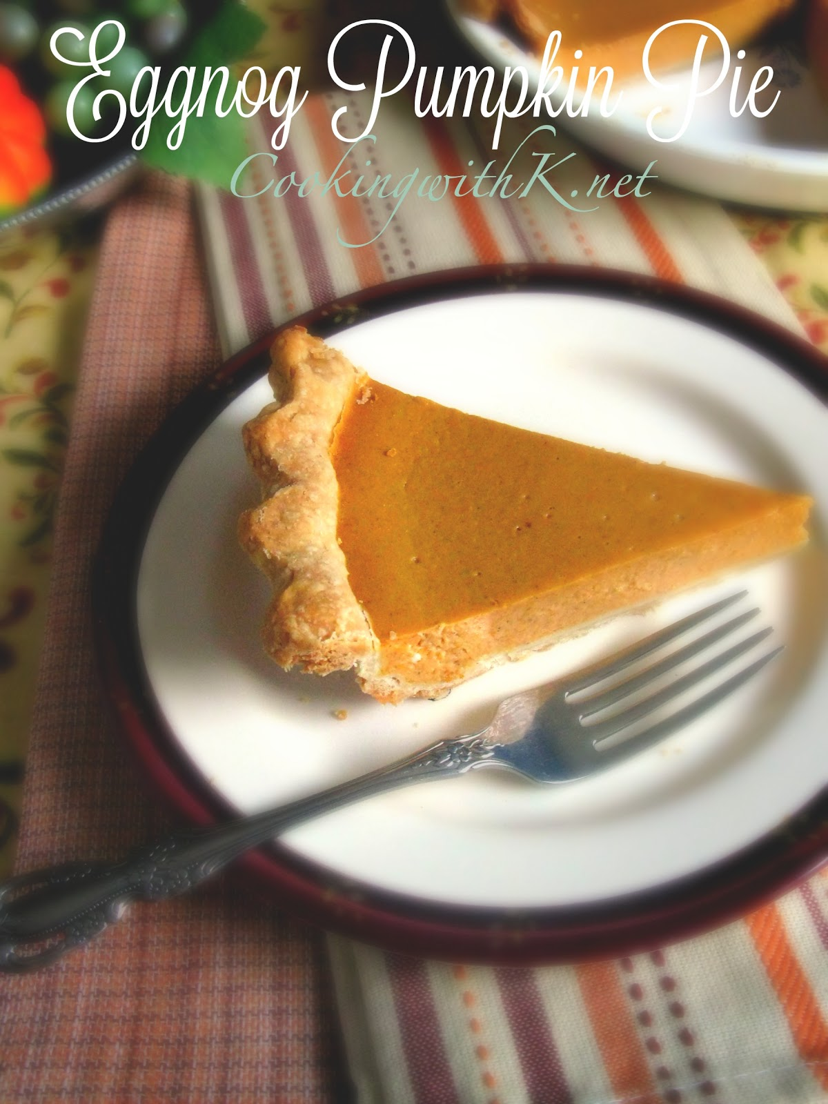 Cooking with k eggnog pumpkin pie for Pumpkin pie with a twist