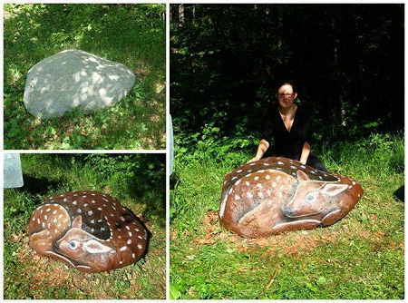 Muebles reciclados piedras pintadas - Muebles de piedra para jardin ...
