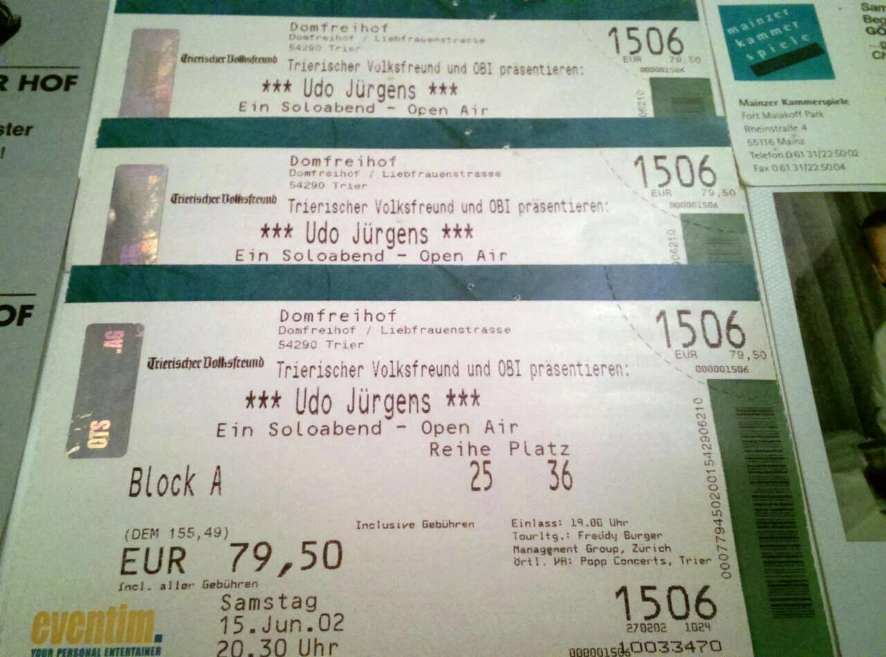 Konzertkarten für Udo Jürgens live - Ein Soloabend | Juli 2002 in Trier | Arthurs Tochter Kocht by Astrid Paul