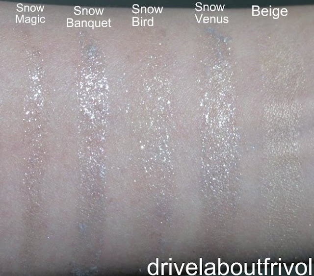swatch Addiction eyeshadow 003S Snow Magic, 004S Snow Bouquet, 005S Snow Bird, 006S Snow Venus, 007M Beige