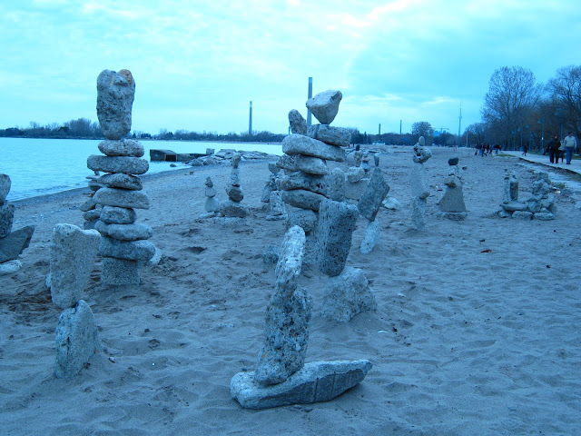 Rock balancing Toronto beaches