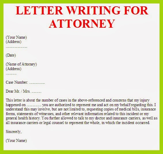 letter writing for attorney example
