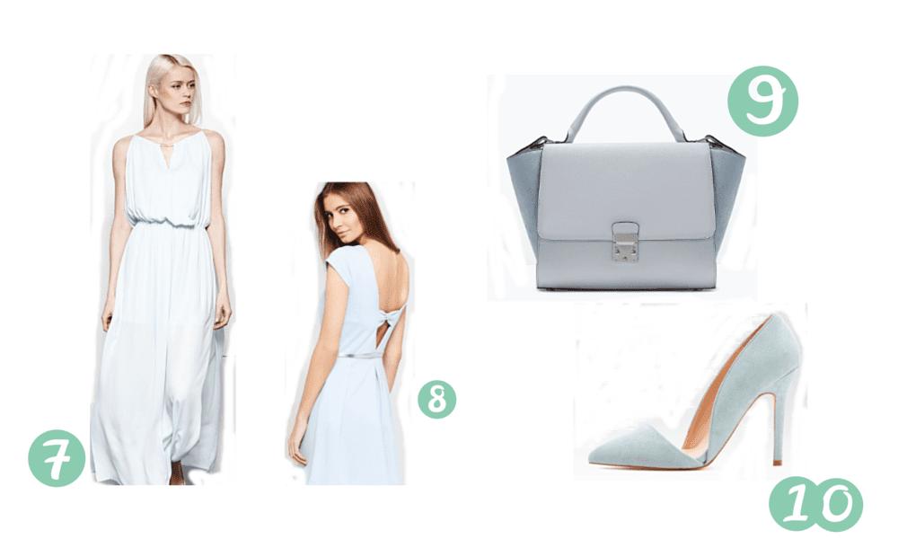 ubrania i dodatki w kolorze błękitu