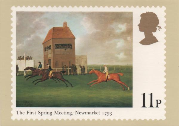 11pence stamp card featuring horse racing painting
