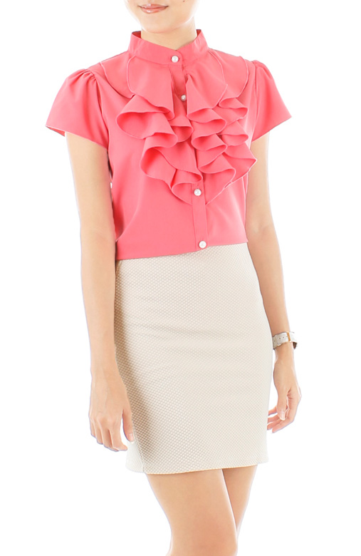 Ruffled Petal Blouse – Cherry Pink