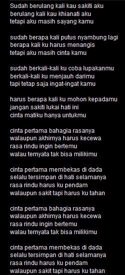 "Lyrik/Lirik Lagu Dangdut Hesty ""Cinta Pertama"""
