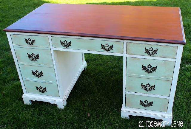 Painted Desk two toned chalk paint vintage desk redo. painted desk love the