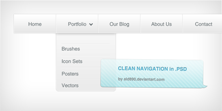 White Navigation Menu PSD