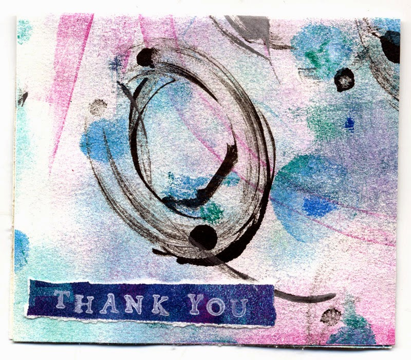 Gelli print thank you card
