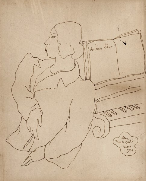 Jean Cocteau - caricatura de Bronislava Nijinska trabajando en Le Train Bleu