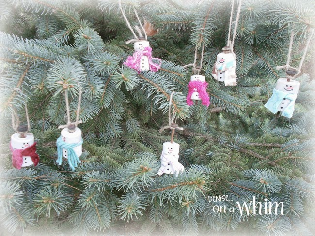 Electric Fence Insulators Repurposed into Snowmen Ornaments from Denise on a Whim