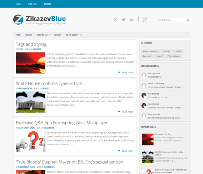 zikazevblue blogger template