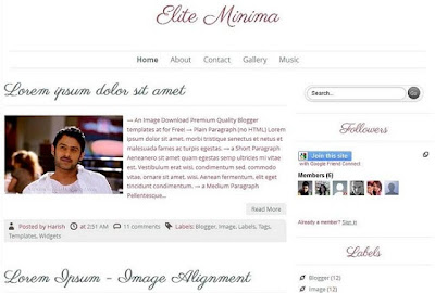 Elite Minima Responsite Blogger Template