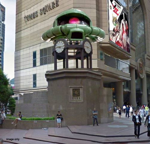 giant gundam zaku head at gundam docks