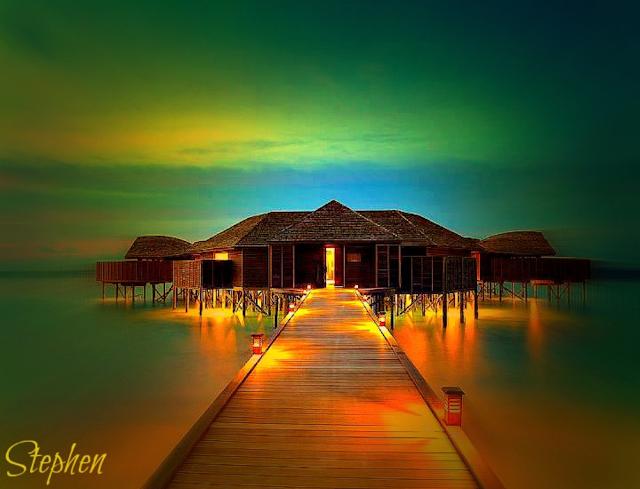 A spectacular hotel view in Bora Bora island