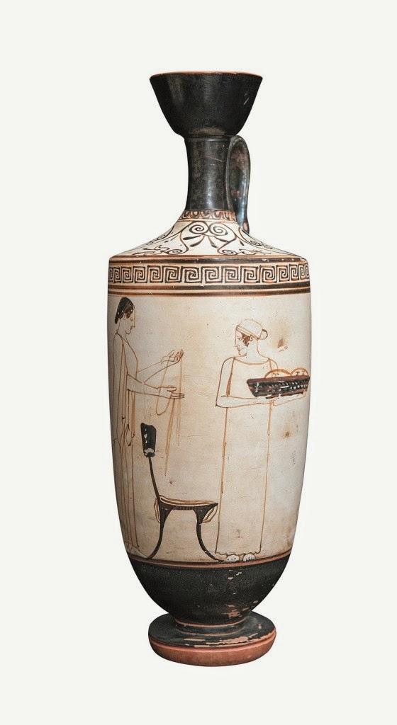 Lécito ático del año 470-460-aC con escena de preparativos fúnebres. Pintor de Atenas