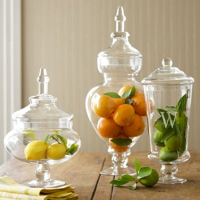 Decorating with apothecary jars driven by decor for Kitchen jar decoration