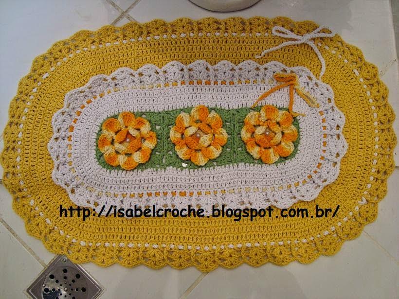 Tapete Rosa Franzida Com Miolo : Isabel Croch? : Jogo de banheiro amarelo e branco em croch?
