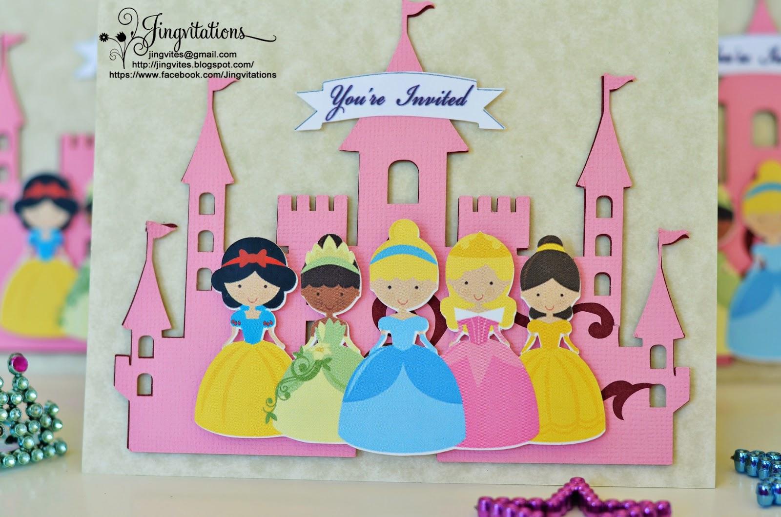Jingvitations: Disney Princess Tiana, Snow White, Belle, Sleeping ...