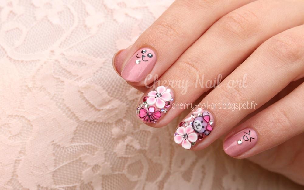 nail art kawaii japonais 3d mignon
