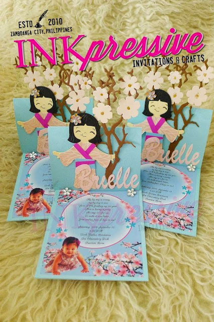 Cherry blossom japanese doll brielle kiddie invitations these beautiful invites were created for a client overseas who requested for a one of a kind cherry blossom japanese doll inspired card filmwisefo