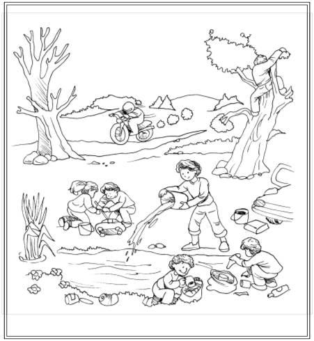 Dibujo para colorear de la contaminacion del suelo - Imagui